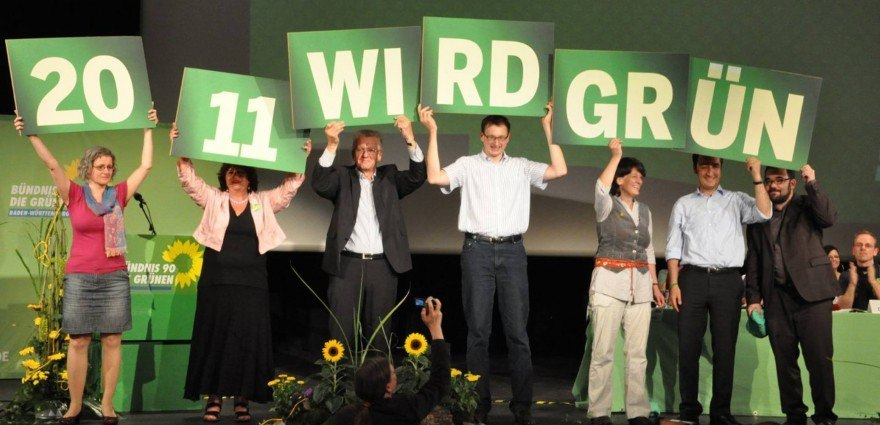 Foto: 2011 wird Grün - Spitzenteam zur Landtagswahl 2011 mit Landesvorsitzenden und Bundesvorsitzendem.