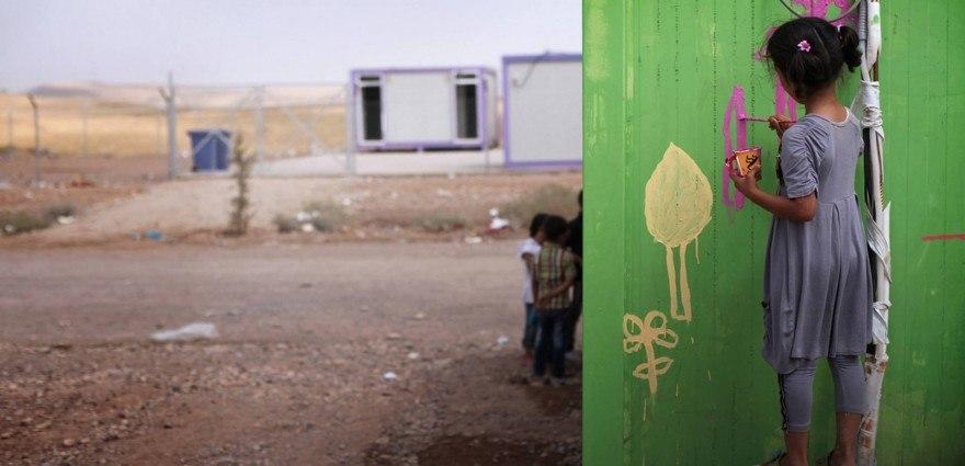 Foto: Kleines jesidisches Mädchen bemalt in einem Flüchtlingscamp eine Wand