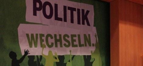 Foto: Politik wechseln - Banner auf dem Parteitag in Bruchsal