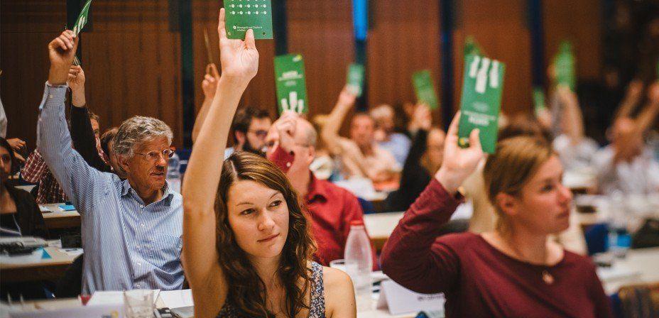 Foto: Delegierte halten Stimmkarten in die Höhe