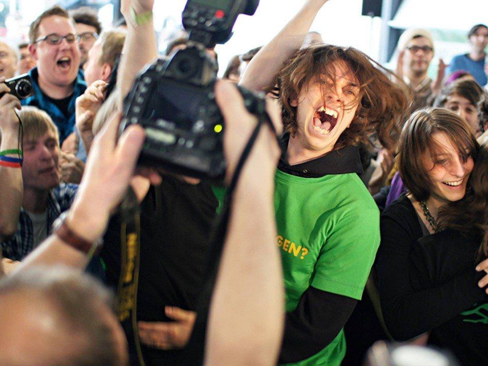 Foto: Jubelnde Grüne Jugend