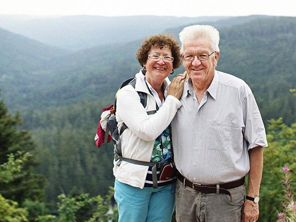 Foto: Winfried Kretschmann und Gerlinde Kretschmann wandern im Nationalpark Schwarzwald
