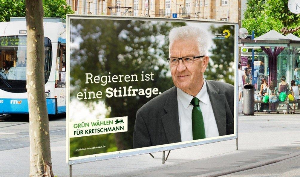 Grafik: Großflächenplakat mit Winfried Kretschmann: Regieren ist eine Stilfrage
