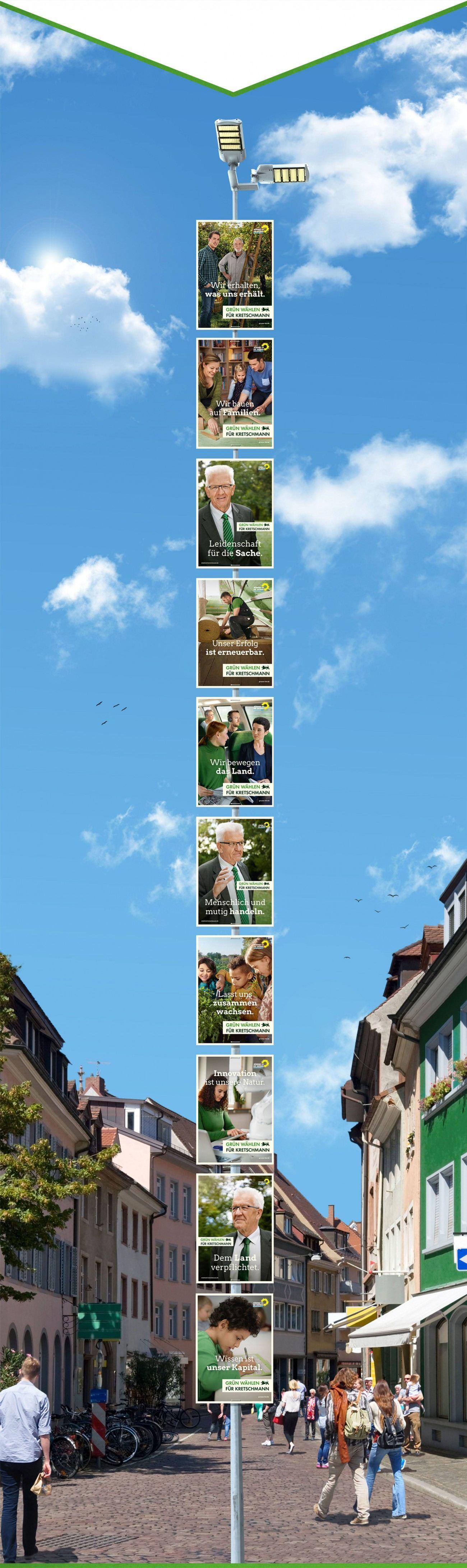 Foto: Unsere Plakate zur Landtagswahl an einer sehr langen Laterne