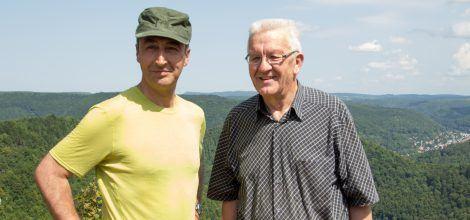 Cem und Winfried beim Wandern in Bad Urach