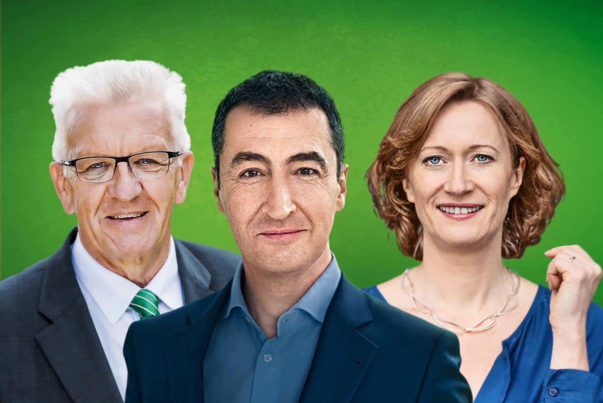 Grünen Wahlkampfhöhepunkt Mit Cem –zdemir Winfried Kretschmann Und