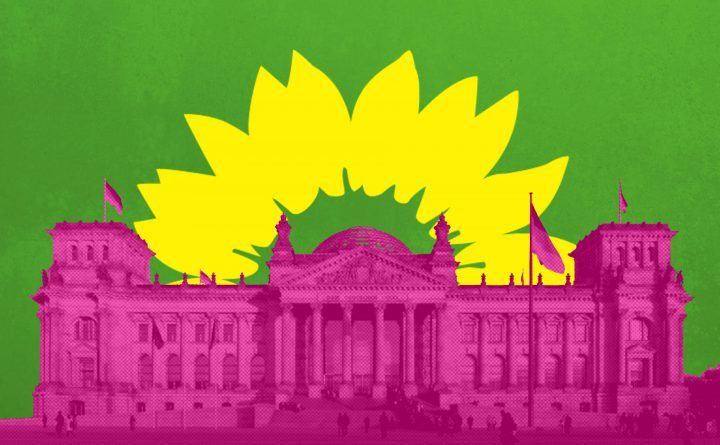 Grafik: Bundestag mit Sonnenblume