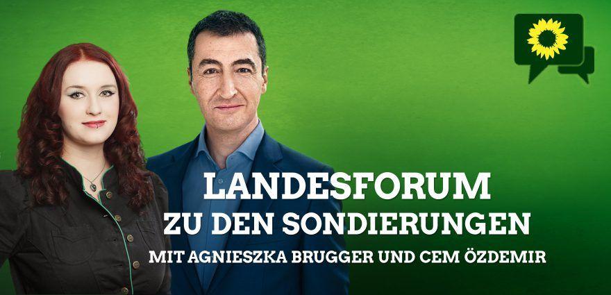 Grafik: Landesforum zu den Sondierungen-mit-Agnieszka Brugger und Cem Özdemir