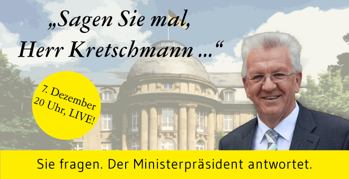 Grafik: Online-Sprechstunde mit Ministerpräsident Winfried Kretschmann