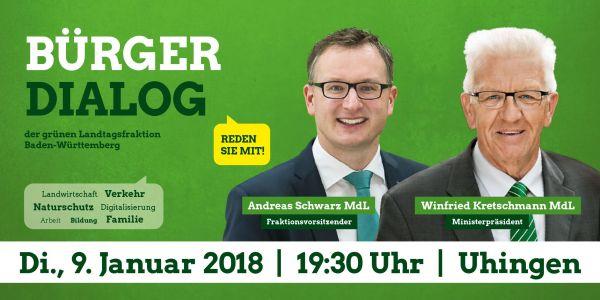 Grafik: Bürgerdialog Uhingen mit Fraktionsvorsitzendem Andreas Schwarz und Ministerpräsident Winfried Kretschmann