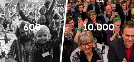 Fotomontage: 600 Grüne Gründer*innen (Links) - Feiernde grüne Mitglieder (Rechts)