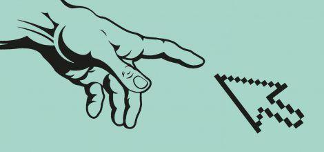 Grafik: Hand Gottes trifft Mauszeiger