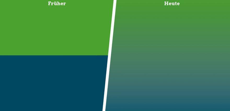 Illustration: Früher waren Umwelt und Wirtschaft getrennt, heute sind sie im Einklang - Farbverlauf von Grün zu Blau