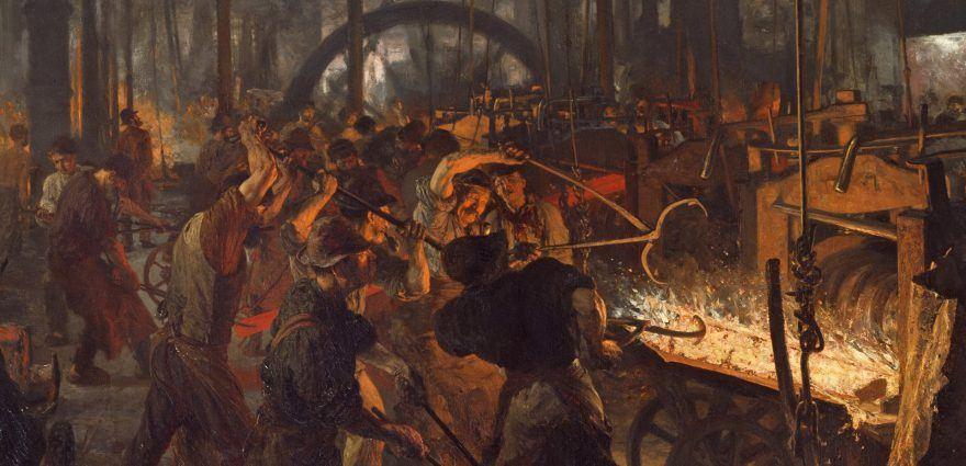 Gemälde: Arbeiter im Eisenwalzwerk