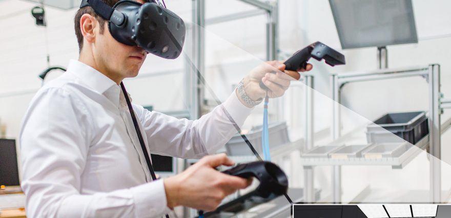 Fotomontage: Virtual Reality Experimente im Future Work Lab