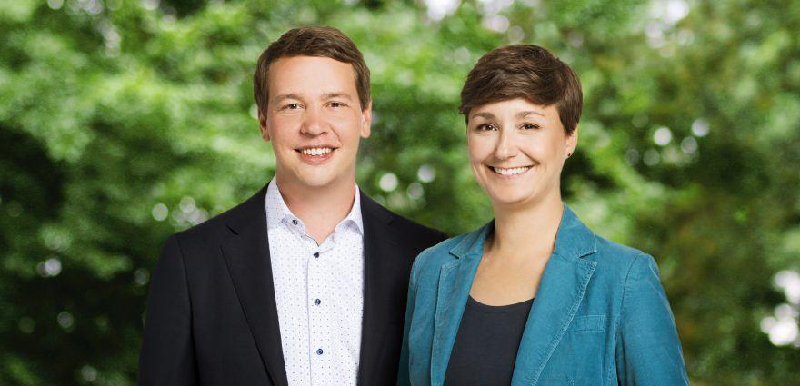 Foto: Grüne Landesvorsitzende Sandra Detzer und Oliver Hildenbrand