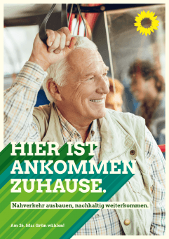 Plakat: Hier ist Ankommen zuhause - Senioren im ÖPNV