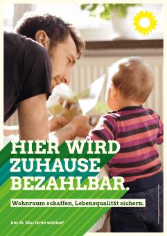 Plakat: Hier wird zuhause bezahlbar - Junger Vater spielt mit Kleinkind