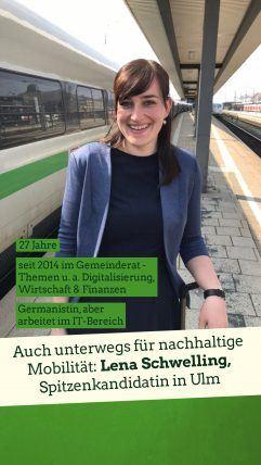Foto: Lena Schwelling mit dem grünen ICE