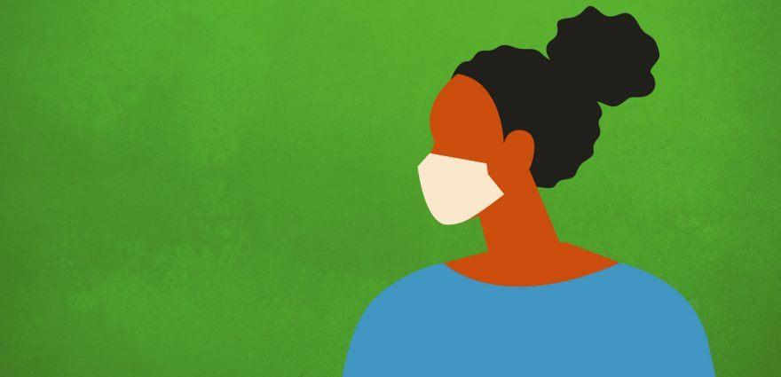 Grafik: Frau mit Maske