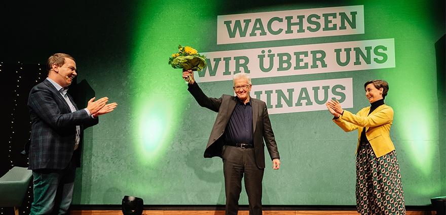 Foto: Winfried Kretschmann Sandra Detzer und Oliver-Hildenbrand auf dem digitalen Parteitag