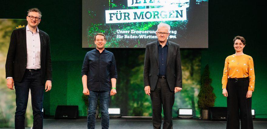 Foto: Jetzt für morgen - Andreas Schwarz, Oliver Hildenbrand, Winfried Kretschmann, Sandra Detzer